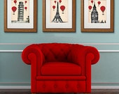 Red Hot Air Balloon Prints :3 Art Prints Paris London Pisa Drawing Poster Wall Art Wall Decor Wall Hanging balloon decor london poster italy