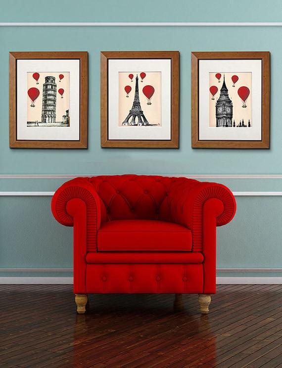 Red Hot Air Balloon Prints :3 Art Prints Paris London Pisa Drawing Poster Wall Art Wall Decor Wall Hanging balloon decor london poster italy