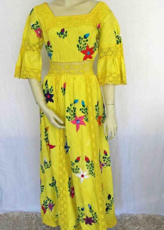 Mexican Wedding Dress Oaxaca Yellow Cotton Dress Crochet