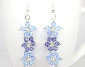 Light sapphire and tanzanite floral earrings, swarovski earrings, swarovski flower, sapphire earrings, daisy chain, flower earrings ER030