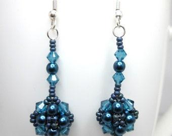 Blue denim and pearl swarovski earrings, blue earrings, valentine jewelry, victorian floral earrings, beadwork jewellery, indocolite, ER013