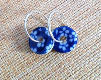 Cobalt Blue Porcelain Earrings with Sterling Silver Hoops!