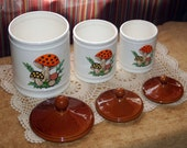 1979 Ceramic Mushroom Canisters by Sears Roebuck & Co.