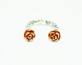 Rose Duel Ring    Two Rose Sterling Silver Ring    18kt Rose/Yellow Gold
