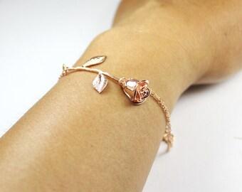 Rose bracelet,Floral Bracelet,Pink Rose Bracelet, Rose Gold Bracelet, Double Chain Bracelet,Gifts for Her,Bridesmaid Bracelet,Floral Jewelry