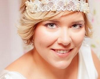 Reina Headband - Lace - Crown - Swarovski ivory beads - Hair Accessories - Wedding - Sautoir et Poudrier