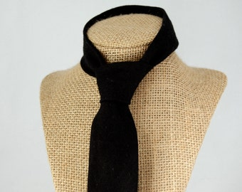 Men's Necktie - Black Linen SKINNY or SLIM Tie
