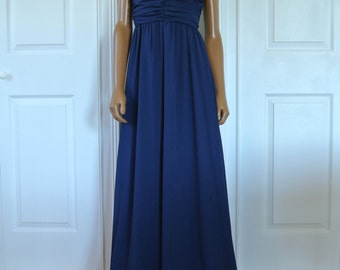 1960s 1970s Navy Blue Maxi Chiffon Gala Dress Party Formal Sequined Deco Neckline Prom Dress/S/M