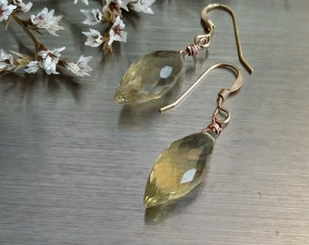 Gemstone earring for wife Everyday gold earring Simple oval stone earring Dangle stone earring Lemon quartz earring Gold earring for mom
