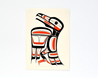 Classic Northwest Native Raven Print 1989 Signed and Dated Haida Colors by Ben Houstie