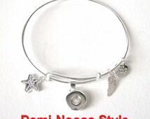Demi Mini Petite Snap Charm Bangle Bracelet Fits Ginger Snaps Petite, Noosa Petite, Magnolia Mini Collections