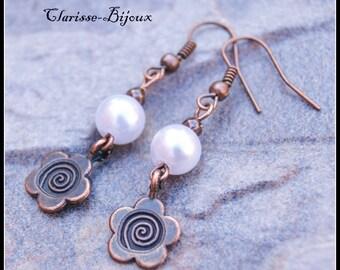 Flower Earrings, Antique copper Earrings, Pearl Earrings