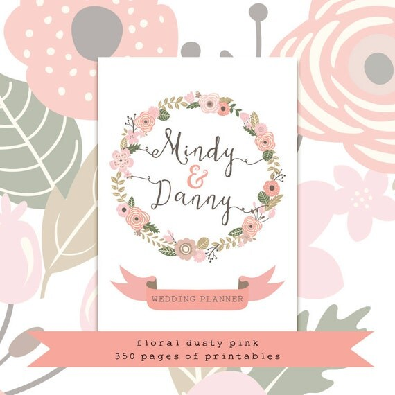 dusty pink wedding planner printable