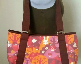 Large Red Woodland Forest  Hobo Purse