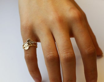 Initial Chain Ring - Gold filled and Sterling silver