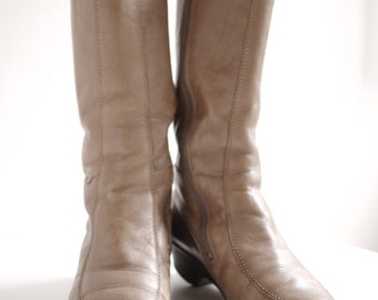 Light Brown 70s Leather Boots Size 40 | 41 UK 6.5 | 7.5 US 9 | 10