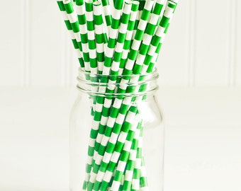 Paper Straws in Pine Green & White Sailor Stripes - Set of 25 - Christmas Dark Holiday Pretty Wedding Birthday Party Shower Accessories