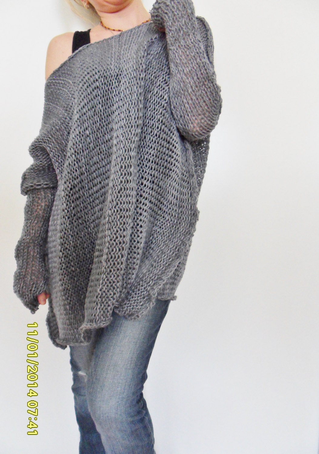 Oversize Women cotton chunky knit sweater Bulky/slouchy/loose
