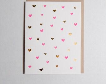 Tiny Hearts - Gold Foil - Valentine's Letterpress Card