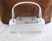 Lucite Box Purse  Vintage Glam   White Pearlized  Carved Lid  Unique Shape  Clear Handbag  50s Purse  Wedding Accessories