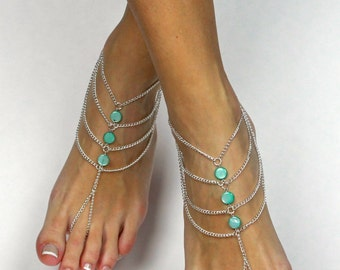 Mint Green Bohemian Barefoot Sandals Boho Foot Jewelry Mint Green Anklet Bridesmaids gift Beach wedding sandals Bare Foot Sandals Foot thong