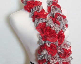 SUPER SALE!! Red and Grey Ruffle Scarf. Hand Knit Frilly Scarf. Team/School Spirit Scarf. Ships Free in USA