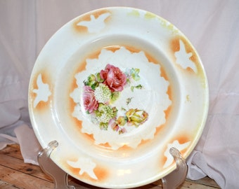 Sterling Porcelain pink and yellow rose and white hydrangea bowl with gold lace accents