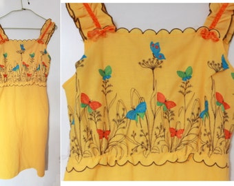 Vintage top yellow cotton 70s butterflies size S
