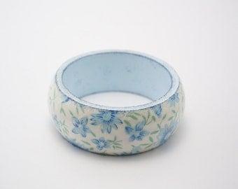 Wooden decoupage bracelet, wooden bracelet, decoupage bracelet, bangle, wooden bangle, decoupage bangle, flower bracelet, feald flowers