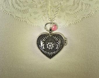 Big Heart Locket, Locket Necklace, Victorian Necklace, Pink Heart, Romantic Gifts, Silver Locket, Girlfriend Gift, Antiqued Locket, N1284