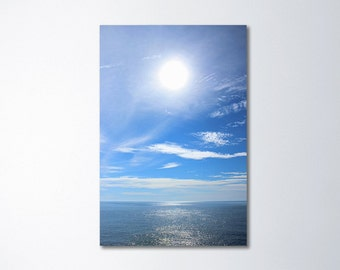 Ocean Art, Minimalist Art, Seascape Art, Large Vertical Art, Large Wall Art, Oversized Art, Ocean Canvas Art, Sun, Blue Sky, Water 24x36 Art