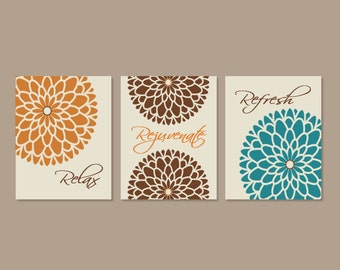 Teal And Brown Wall Decor canvas art orange and brown   etsy