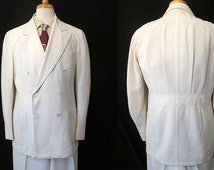 Rare -L- 1930's White Linen Double Breasted Suit with Half Belt and Pleats on Back of Jacket Rockabilly VLV Stage