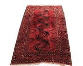 "Vintage Overdyed Tribal Rug 80"" x 52"""