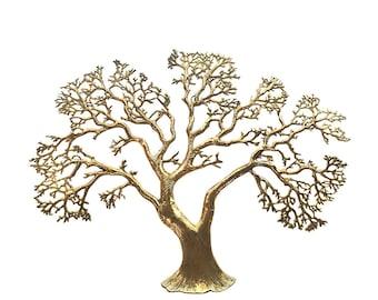 Mid Century Brass Tree Wall Sculpture