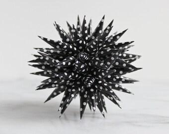 Polish Star Ornament Black + White Polka Dot Retro | Jezyk Paper Star Modern Folk Art Sea Urchin Spiky Ornament, 4.5 inch