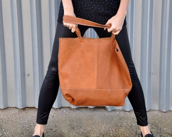 Leather handmade tote,tabac