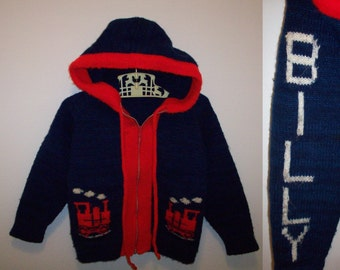 80s train * Billy * knit hoodie toddler kids choo choo red blue sweater personalized