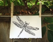 "Dragonfly Hand Printed Card ; 5"" x 7"""