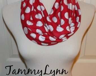 Red with White Polka Dot Scarf Jersey Knit Infinity Scarf Women's Accessories