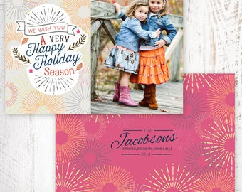 INSTANT DOWNLOAD - Starbursts Holiday Photo Card Template