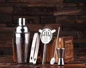 Personalized 5pc Cocktail Shaker Mixer Sets with Wood Storage Box Monogrammed Engraved Groomsmen, Best Man Bartender Man Cave Gift (025077)