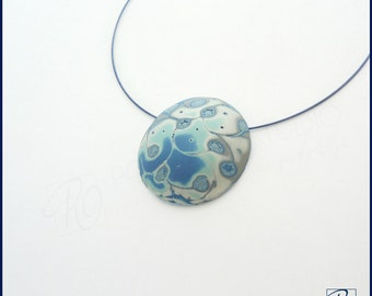 SALE Modern Pendant Necklace Dome Shape in Blue and White. Polymer Clay Jewelry. Modern Art - Frosty - Pendant. Ready to ship.