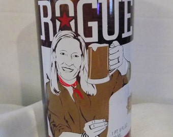 Upcycled Rogue Chocolate Stout Beer Bottle 16oz Tumbler
