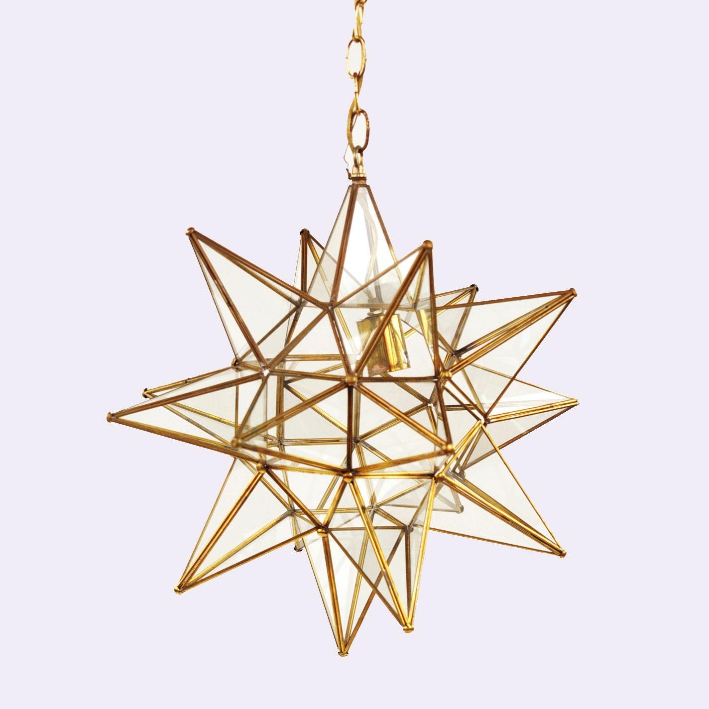 Vintage 1970 39 S Gold Moravian Star Geometric Glass Hanging