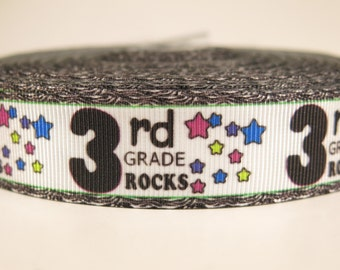 "5 yards of 7/8 inch ""3rd grade rocks"" grosgrain ribbon"