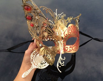 Masquerade Mask, Butterfly Mask, Masquerade Ball Mask, [Red/Gold], Mardi Gras Mask