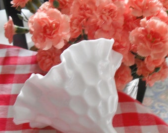 MILKGLASS FLUTED VASE  - Beautiful Collectible from the Sixties/Seventies