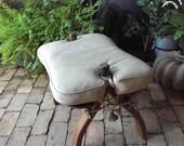 Vintage Bent Wood Camel Saddle Bench With Vinyl Cushion