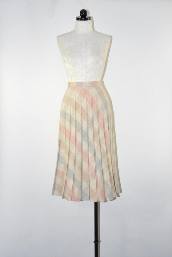70s pastel pleated skirt 1970s plaid wool skirt pleated